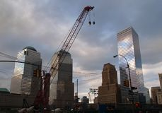 The first two steel beams for the Freedom Tower rose at Ground Zero in New York City Stock Photography