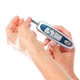 First type Diabetes patient measuring glucose level blood test u Stock Images