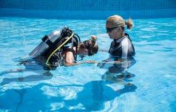 First Underwater Breaths stock photo