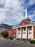 Astoria Church, Oregon. First United Methodist Church in Astoria. Street buildings view. Oregon, United States Royalty Free Stock Photos