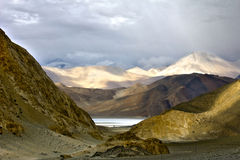 First View of the Beautiful Pangong Lake Royalty Free Stock Images