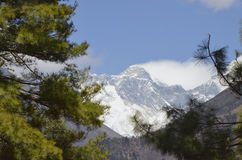 First view of Mount Everest. Hiking to Everest Base Camp this is the first glimpse you get of Mount Everest stock photo