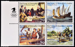 First voyage of Christopher Columbus. Four stamps printed in USA dedicated to first voyage of Christopher Columbus Royalty Free Stock Photo