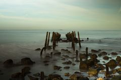 First it was composed in my mind. Low tide and low light in a place no one cares, quite near Lisbon royalty free stock photo