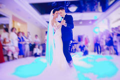 First wedding dance. Bride and groom dancing in the restaurant their first dance Royalty Free Stock Images