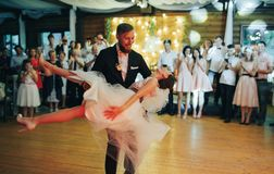 First wedding dance of newlywed. Amazing first wedding dance stock images
