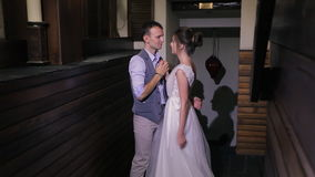First wedding dance newlyweds on important day in house indoors stock video footage