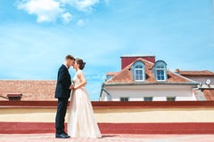 First wedding dance.wedding couple dances on the roof. Wedding day. Happy young bride and groom on their wedding day. First wedding danc.wedding couple dances Stock Images