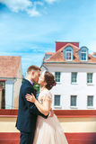 First wedding dance.wedding couple dances on the roof. Wedding day. Happy young bride and groom on their wedding day. Royalty Free Stock Photography
