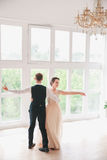 First wedding dance.wedding couple dances on the studio. Wedding day. Happy young bride and groom on their wedding day. Wedding co. Uple - new family. Wedding Royalty Free Stock Photos