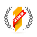 First winner. Number one illustration with red ribbon and laurel wreath Royalty Free Stock Photos