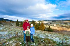 First winter snow and autumn mountain Stock Photography