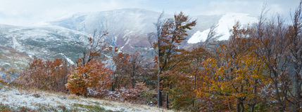 First winter snow and autumn mountain Stock Photo