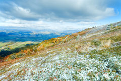 First winter snow on autumn  mountain plateau Stock Image