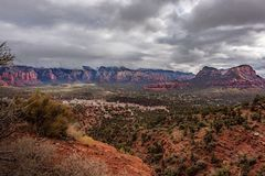 First Winter Storm. Sedona does get some snow once and awhile. This storm only left a dusting on the highest peaks. Above 6000` feet. Better luck next year royalty free stock photo