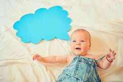 First word. Family. Child care. Childrens day. Sweet little baby. New life and birth. Portrait of happy little child royalty free stock images