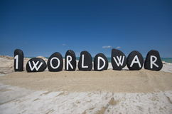 First World Centenary, 1914 - 2014 on black stones Royalty Free Stock Images