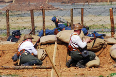 First World War battle reenactment. A battle scene. Royalty Free Stock Image