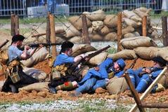 First World War battle reenactment Stock Images