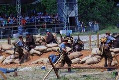 First World War battle reenactment Royalty Free Stock Photos