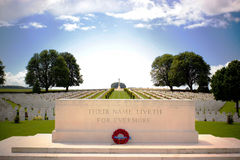 First World War Cemetery near Arras, Northern France. British and Canadian graves in a first world war cemetary near Arras in northern France Royalty Free Stock Image
