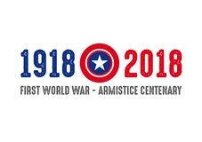 1918-2018 FIRST WORLD WAR CENTENARY - ARMISTICE DAY. Logo royalty free illustration