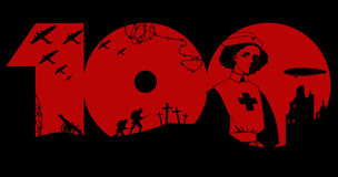 First World War centenary. Great War memorial graphic design with black silhouette of period military artifacts and a nurse over red number hundred Stock Images