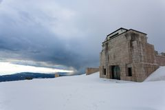First world war memorial in winter season,Italy landmark. Monte grappa,italian alps stock photography