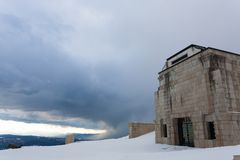 First world war memorial in winter season,Italy landmark. Monte grappa,italian alps architecture landscape mountain background bassano del beauty centenary royalty free stock photography