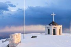 First world war memorial in winter season,Italy landmark. Monte grappa,italian alps architecture landscape mountain background bassano del beauty centenary royalty free stock photo