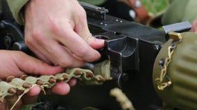 The first world war. Soldiers prepare a machine gun for battle stock footage