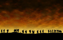 First World War Soldiers Silhouettes Stock Images