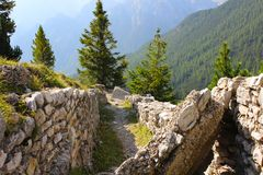 First World War trenches, Dolomites, Italy royalty free stock image