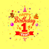 First Year Anniversary Celebration Design Stock Images