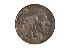 First year of original United States Indian Head Nickel on white Stock Photography