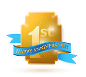 First years anniversary shield. Illustration design over white Stock Image