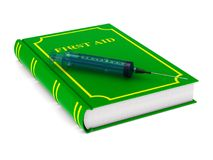 Firstaid book on white background. Isolated 3D illustration.  Stock Photos