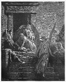 The firstborn of Egypt are slain in the final plague. Picture from The Holy Scriptures, Old and New Testaments books collection published in 1885, Stuttgart Royalty Free Stock Photos