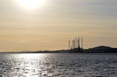 Firth av Tay och port av Dundee, Skottland Fotografering för Bildbyråer