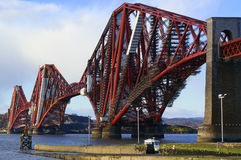 Firth of Forth Bridge and Scaffolding. Spanning Firth of Forth, Edinburgh, Scotland Royalty Free Stock Images