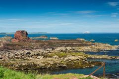 Firthen av framåt och Bass Rock från den Dunbar hamnen och arkivbilder