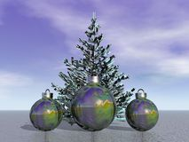 Firtree and balls and Christmas. And sky Stock Photography
