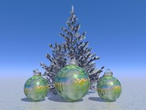 Firtree and balls and Christmas. And sky blue Stock Photo