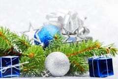 Firtree and christmas decor Stock Images