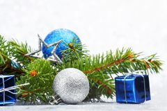 Firtree and christmas decor Royalty Free Stock Photo