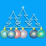 Firtree forest simple line. Christmas decoration. Fir forest drawing by simple line and colorful christmas balls. Vector illustration EPS10 Stock Images