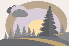 Firtree hills sun cloud cartoon image Royalty Free Stock Images