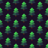 Firtree in isometric style on a dark background. Seamless pattern. Flat figures Royalty Free Stock Images