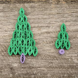 Firtrees made with quilling technique Royalty Free Stock Photography