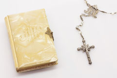 Firts Communion Book and Rosary Stock Images